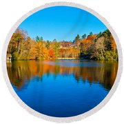 Round Beach Towel featuring the photograph Lake Reflections by Alex Grichenko