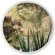 Round Beach Towel featuring the photograph Lake Reflections by Kate Brown