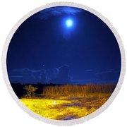 Moonrise Over Rochelle - Portrait Round Beach Towel