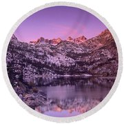 Round Beach Towel featuring the photograph Lake Sabrina Sunrise Eastern Sierras California by Dave Welling