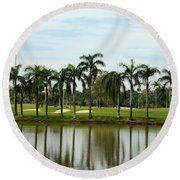 Lake Sand Traps Palm Trees And Golf Course Singapore Round Beach Towel
