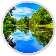 Lake Scene Round Beach Towel