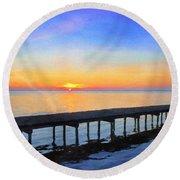 Lake Sunrise - Watercolor Round Beach Towel