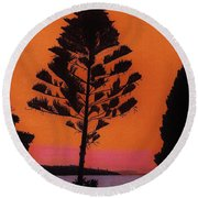 Round Beach Towel featuring the drawing Lake Sunset by D Hackett