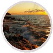 Round Beach Towel featuring the photograph Lake Superior Dawn by Jim Peterson