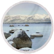 Lake Tahoe In Wintertime, Nevada Round Beach Towel