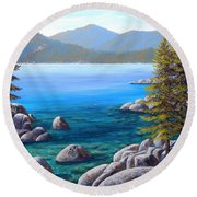 Lake Tahoe Inlet Round Beach Towel