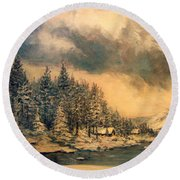 Round Beach Towel featuring the painting Lake Tahoe Winter Colors 2 by Donna Tucker