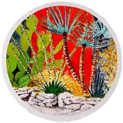 Lake Travis Cactus Garden Round Beach Towel by Fred Jinkins