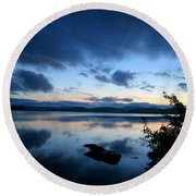 Lake Umbagog Sunset Blues No. 2 Round Beach Towel