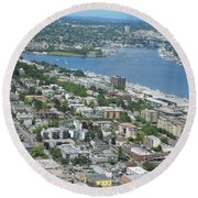 Lake Union Panorama Round Beach Towel