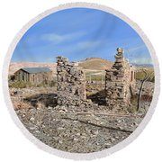 Lake Valley-new Mexico  Round Beach Towel