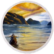 Lake Wahatipu Queenstown Nz Round Beach Towel
