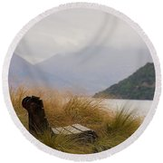 Round Beach Towel featuring the photograph Lake Wakatipu Bench by Stuart Litoff