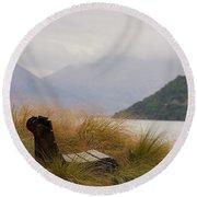 Lake Wakatipu Bench Round Beach Towel by Stuart Litoff