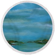 Round Beach Towel featuring the painting Lake Wallenpaupack Early Morning by Judith Rhue