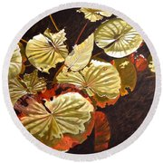 Lake Washington Lily Pad 11 Round Beach Towel