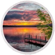 Lake Winnisquam Sunrise 2 Round Beach Towel by Mike Ste Marie