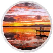 Lake Winnisquam Sunrise Round Beach Towel by Mike Ste Marie