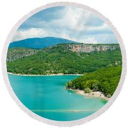 Lake With Mountain In The Background Round Beach Towel