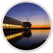 Lakefront Sunrise Round Beach Towel by Jonah  Anderson