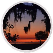Lakefront Sunset Round Beach Towel