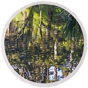 Round Beach Towel featuring the photograph Lakeshore Reflections by Kate Brown