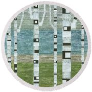 Lakeside Birches Round Beach Towel