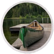 Round Beach Towel featuring the photograph Lakeside Peace by Jacqui Boonstra