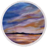 Round Beach Towel featuring the painting Lakeside Sunset by Michelle Joseph-Long