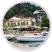 Lakka Harbour On Paxos Round Beach Towel