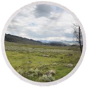 Lamar Valley No. 1 Round Beach Towel by Belinda Greb