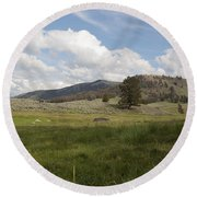 Lamar Valley No. 2 Round Beach Towel by Belinda Greb
