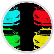 Round Beach Towel featuring the photograph Lambo Pop Art by J Anthony