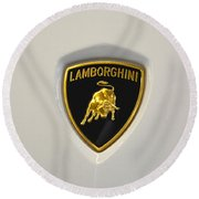 Round Beach Towel featuring the photograph Lamborghini Badge by Mike Martin