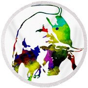 Lamborghini Bull Emblem Colorful Abstract. Round Beach Towel