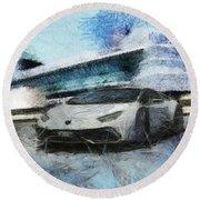 Lamborghini Huracan Round Beach Towel by Mario Carini