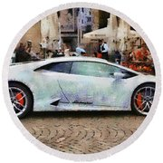 Lamborghini Huracane Lp 610-4 Parked In The City Round Beach Towel