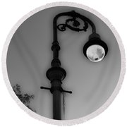 Round Beach Towel featuring the photograph Savannah Lamp Post by Frank Bright