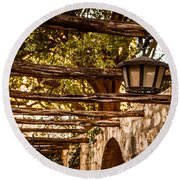 Lamps At The Alamo Round Beach Towel by Melinda Ledsome