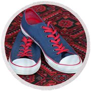 Round Beach Towel featuring the photograph Lance's Shoes by E Faithe Lester