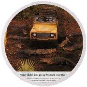 Land Rover Defender 90 Ad Round Beach Towel
