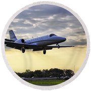 Landing At Sunrise Round Beach Towel