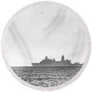 Landing On The Horizon Round Beach Towel by Betsy Knapp