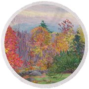 Landscape At Hancock In New Hampshire Round Beach Towel
