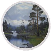 Landscape From Norway Round Beach Towel