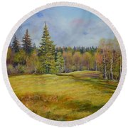 Landscape From Pyhajarvi Round Beach Towel