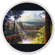 Landscape-lake And Trees Round Beach Towel
