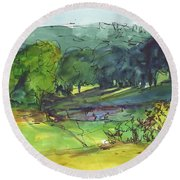Landscape Lakeway Texas Watercolor Painting By Kmcelwaine Round Beach Towel