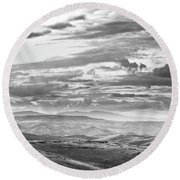 Landscape Of Rolling Hills In Black Round Beach Towel